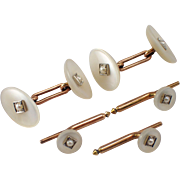 Antique 14K Yellow Gold Mobe Pearl Stud Set
