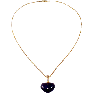 14k Yellow Gold Amethyst and Diamond Heart Pendant