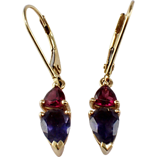 14k Yellow Gold Iolite and Garnet Earrings
