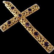 Antique 14K Yellow Gold Amethyst Cross Pendant