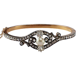 Antique Silver over Gold Diamond and Pearl Bangle Bracelet
