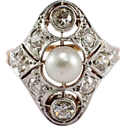 Edwardian Platinum and 14k Yellow Gold Pearl and Diamond Ring