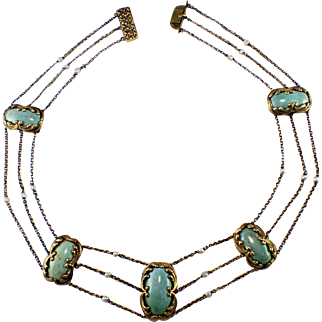 Art Nouveau 14k Yellow Gold Turquoise and Seed Pearl Necklace