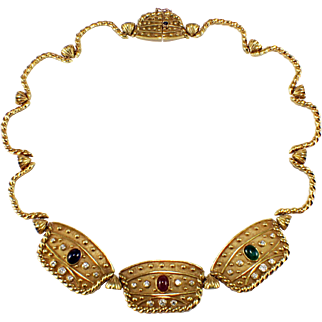 18k Yellow Gold Diamond, Ruby, Sapphire, and Emerald Necklace