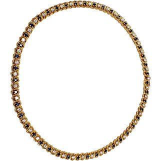 Mcteigue 18k Yellow Gold Sapphire and Diamond Necklace