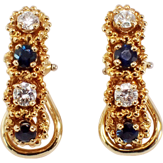 Mcteigue 18k Yellow Gold Sapphire and Diamond Earrings