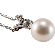 14k White Gold Pearl and Diamond Pendant