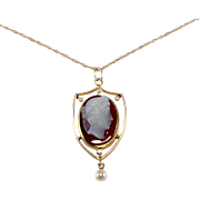 Victorian 14K Yellow Gold Cameo Necklace