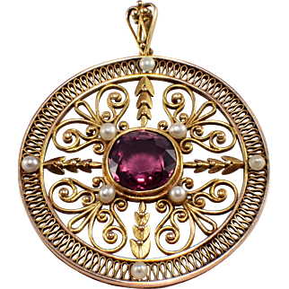 Antique 14k Yellow Gold Spinel and Seed Pearl Pendant