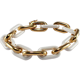 18k Yellow Gold and Porcelain Bracelet