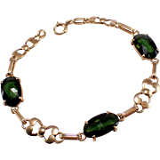 Retro 14k Yellow Gold Tourmaline Bracelet