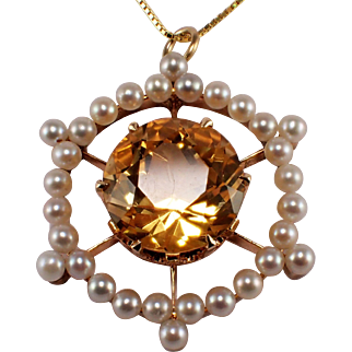 Antique 14k Yellow Gold Citrine and Seed Pearl Pendant