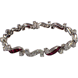 Mid-Century Platinum and Diamond Bracelet