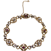 Antique 18k Yellow Gold Diamond and Ruby Bracelet
