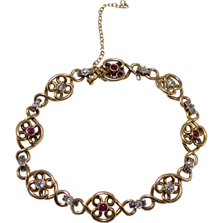 Antique 18k Yellow Gold Diamond and Ruby Bracelet
