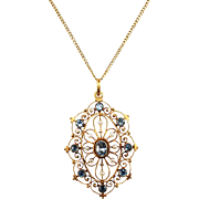 Antique 14k Yellow Gold Aquamarine and Seed Pearl Pendant