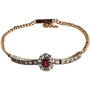 Antique 14 Yellow Gold and Silver Ruby and Diamond Bracelet