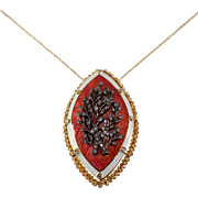 Antique 18k Yellow Gold Diamond, Citrine, and Enamel Pin/Pendant