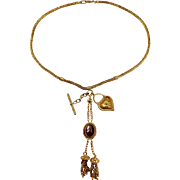 21k Yellow Gold Lariat Style Necklace