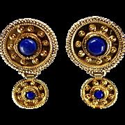 18k Yellow Gold Lapis Lazuli Earrings