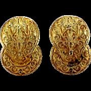 18k Yellow Gold Wire Work Earrings