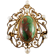 Antique 14k Yellow Gold Turquoise and Pearl Pin/Pendant