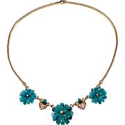 Retro 14k Yellow Gold Turquoise and Diamond Necklace