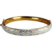 Antique 18k Yellow Gold Enamel Bangle Bracelet