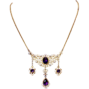 Antique Kremetz 14k Yellow Gold Amethyst and Pearl Necklace