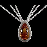 18k White Gold Citrine and Diamond Pendant
