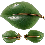 14k Yellow Gold Carved Nephrite Earring and Brooch Set