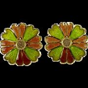 18k Yellow Gold Enamel Earrings