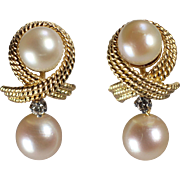 18 and 14k Yellow Gold Pearl and Diamond Earrings