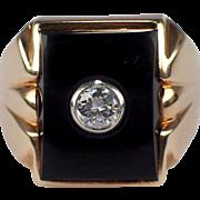 Retro Gents 14k Yellow Gold Onyx and Diamond Ring