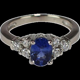 14k White Gold Sapphire and Diamond Ring