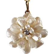 Antique 14k Yellow Gold Pearl and Diamond Pendant