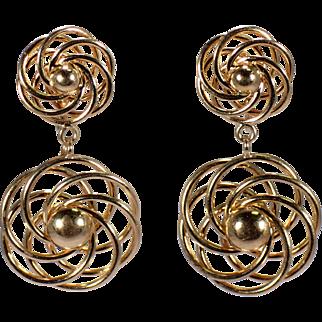 Retro 14k Yellow Gold Drop Earrings