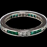 Art Deco Platinum Emerald and Diamond Eternity Band