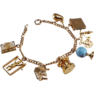 Mid-Century 14k Yellow Gold Charm Bracelet