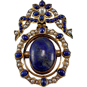 Antique 14k Yellow Gold Lapis and Seed Pearl Pendant