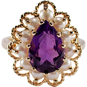 14k Yellow Gold Amethyst and Seed Pearl Ring