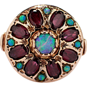 Mid-Century 14k Rose Gold Opal and Garnet Ring