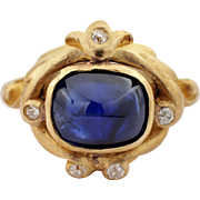 Art Nouveau 18k Yellow Gold Sapphire and Diamond Ring