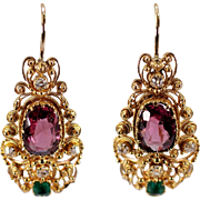 Antique 14k Yellow Gold Garnet, Diamond, and Emerald Earrings