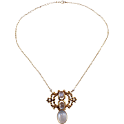 Art Nouveau 14k Yellow Gold Moonstone and Seed Pearl Necklace