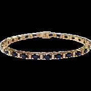 14k Yellow Gold Sapphire and Diamond Bracelet