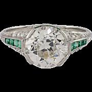 Art Deco Platinum Diamond and Emerald Engagement Ring
