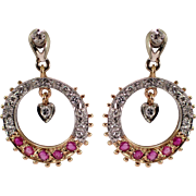 Retro 14k White and Yellow Gold Ruby and Diamond Earrings