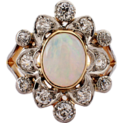 Edwardian Platinum over Gold Opal and Diamond Ring