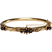 Mid Century 14k Yellow Gold Sapphire and Seed Pearl Bangle Bracelet